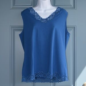 Med Blue Double Lace Tank by Coldwater Creek Sz XL
